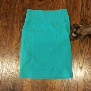 Teal stretchy pencil skirt